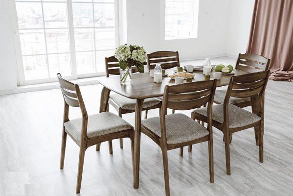 Mẫu bàn ăn gỗ óc chó 6 ghế đẹp