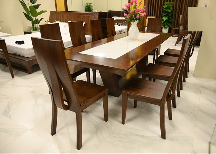 Bộ bàn ăn gỗ óc chó mặt đá