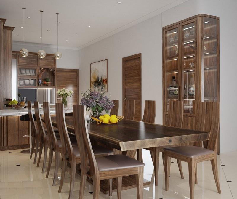 Bộ bàn ăn gỗ óc chó nguyên tấm